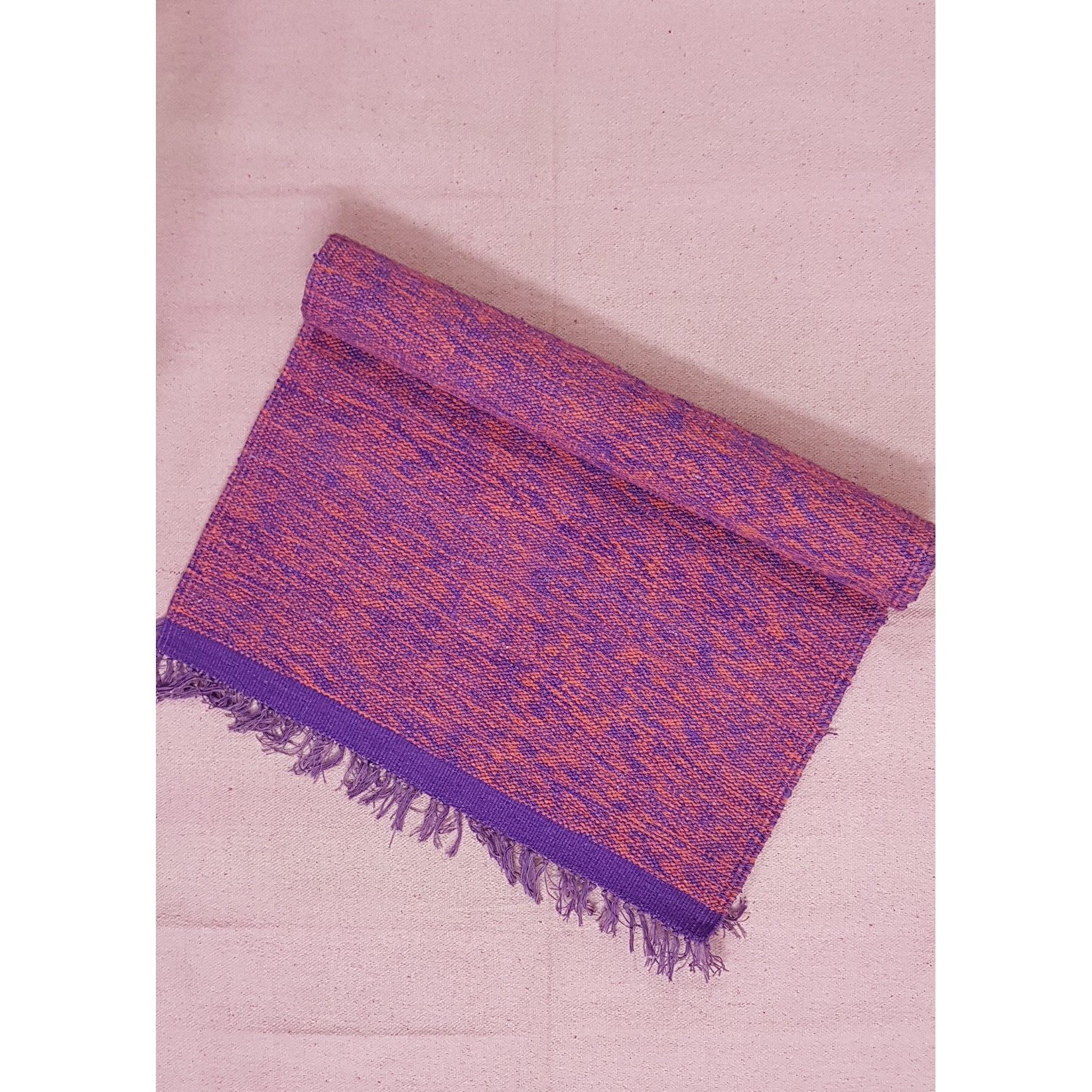 Purple and Pink Color Handwoven Yoga Mat – 2.4 ft X 6.5 ft - Vinshika