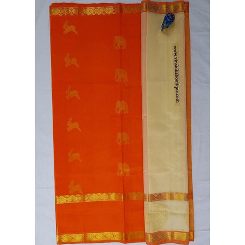 Half white and orange Half and Half Kuppadam Pattu Saree - Vinshika