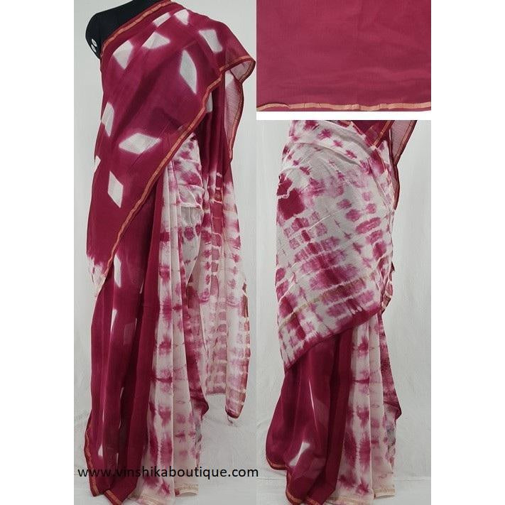 Rose wood and  White Hand Bagru Block Printed in Natural Colors Chanderi Saree With small zari border - Vinshika