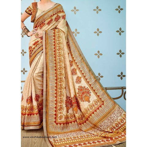 Fabulous Digital Print Pure Banarasi Silk Designer Saree with unstitched blouse - Vinshika
