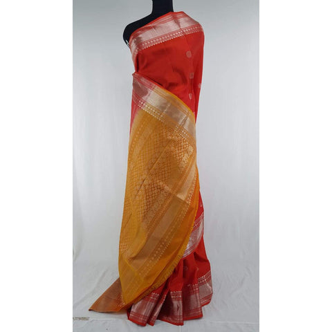 Red and Yellow Kanjeevaram soft silk saree
