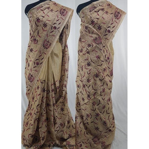 Half white color Jute silk hand embroidered kantha work saree - Vinshika