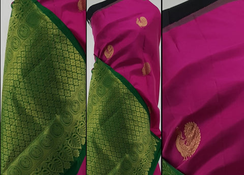 Pink and Green pure Kanjeevaram silk saree