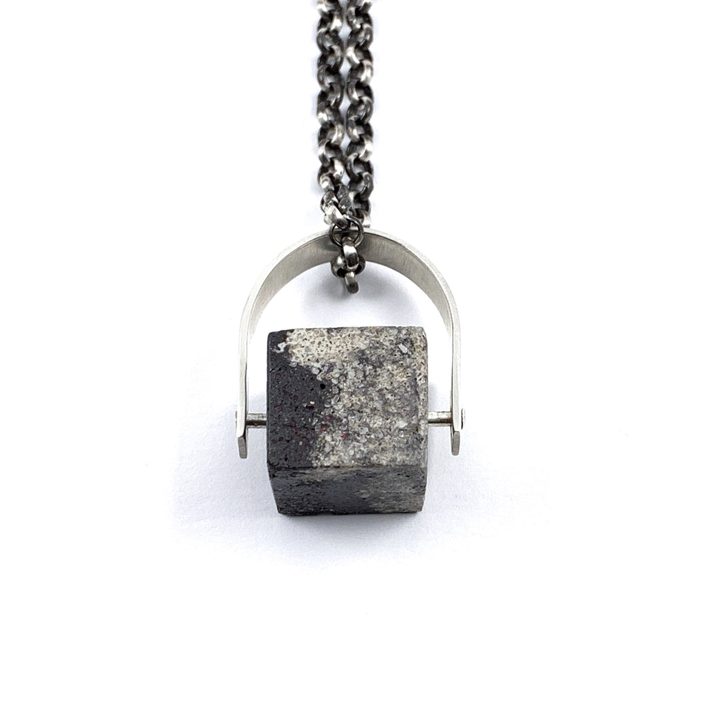 Concrete Cube with Riveted Silver D Ring Necklace