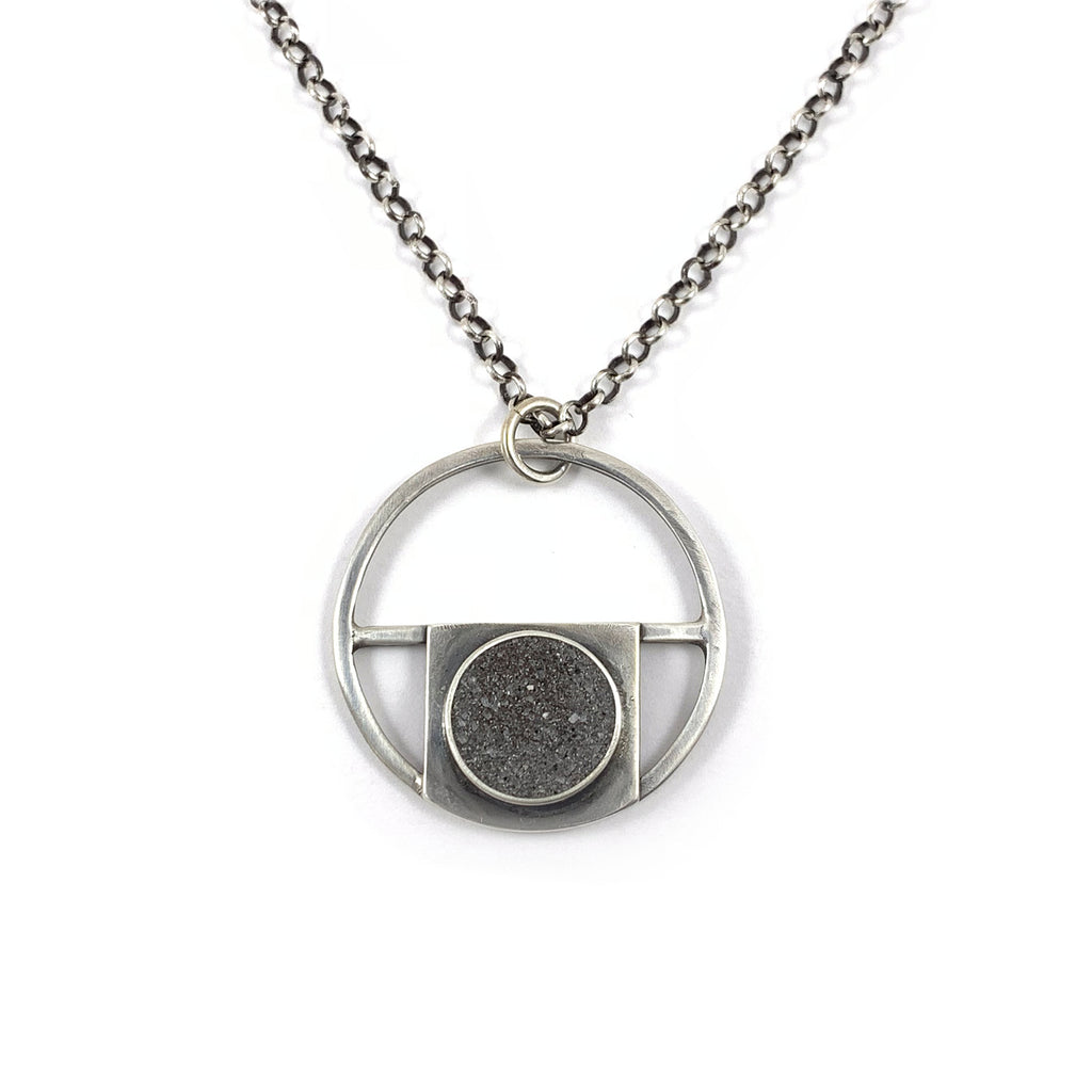 Concrete and Silver Half Circle Necklace