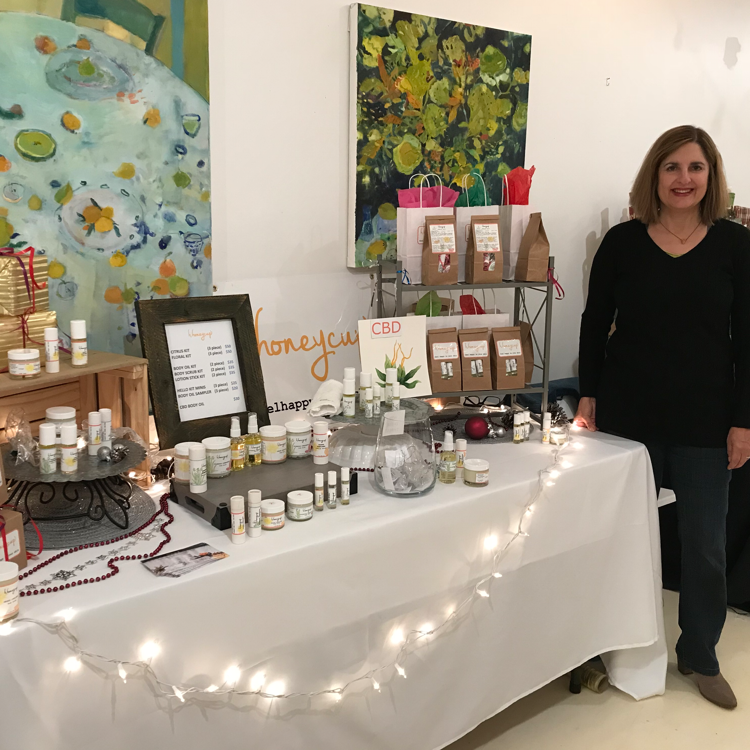 Photo of H. Honeycup founder for article by Savvy Main Line on Making Good and giving back to the community by supporting sober living centers. Photo taken at Main Line Pop Up in Wayne PA.