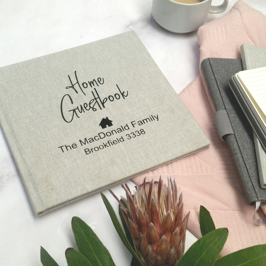Personalised Linen Home Guestbook-Visitor book for house warming