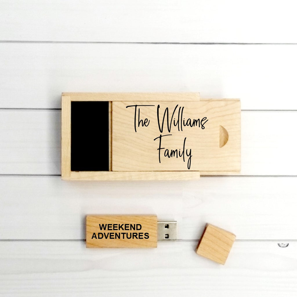 Family Moments Personalised Memory Box - Wooden keepsake box with wooden usb