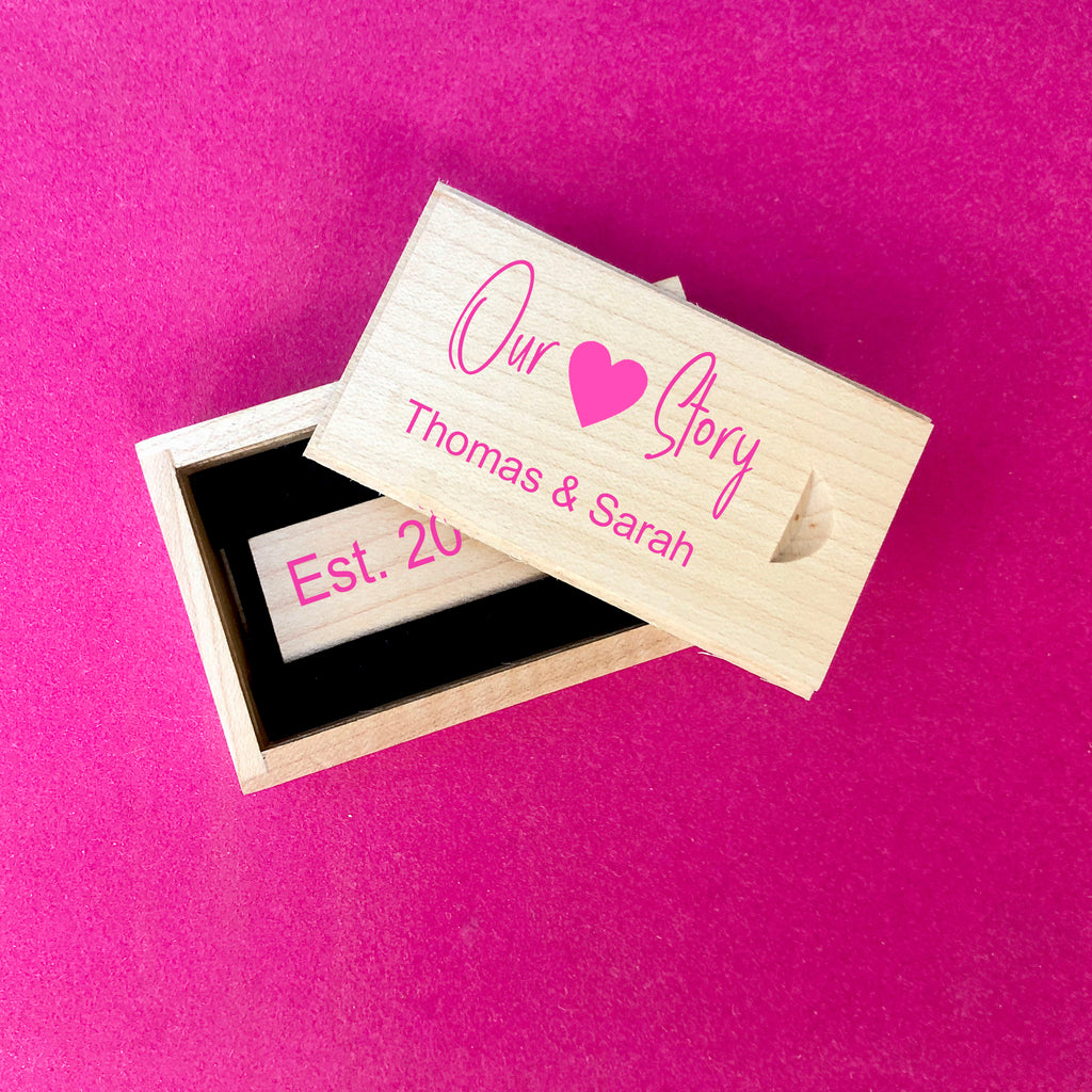 Valentines Day Personalised USB with Box