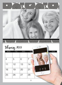 Personalised Black and White Calendar