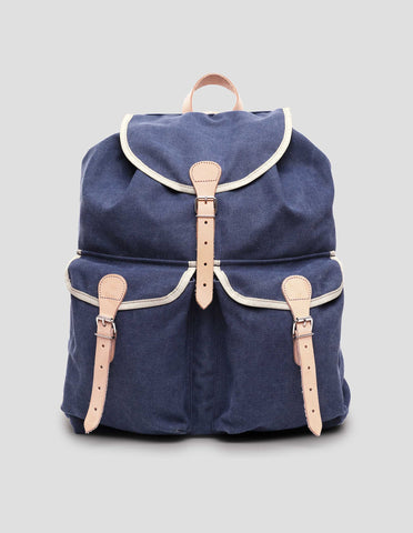 Handgefertigter Rucksack aus Cotton Canvas in Denim Blau