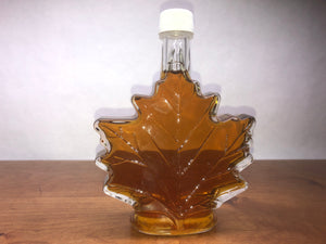 Certified Organic Syrup: 250 ml Maple Leaf Shaped Glass