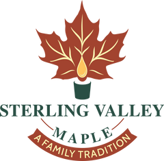 Sterling Valley Maple Logo Image, a red leaf and text