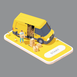 Yellow van with guy holding a box Illustration for Sterling Valley Maple syrup subscription service