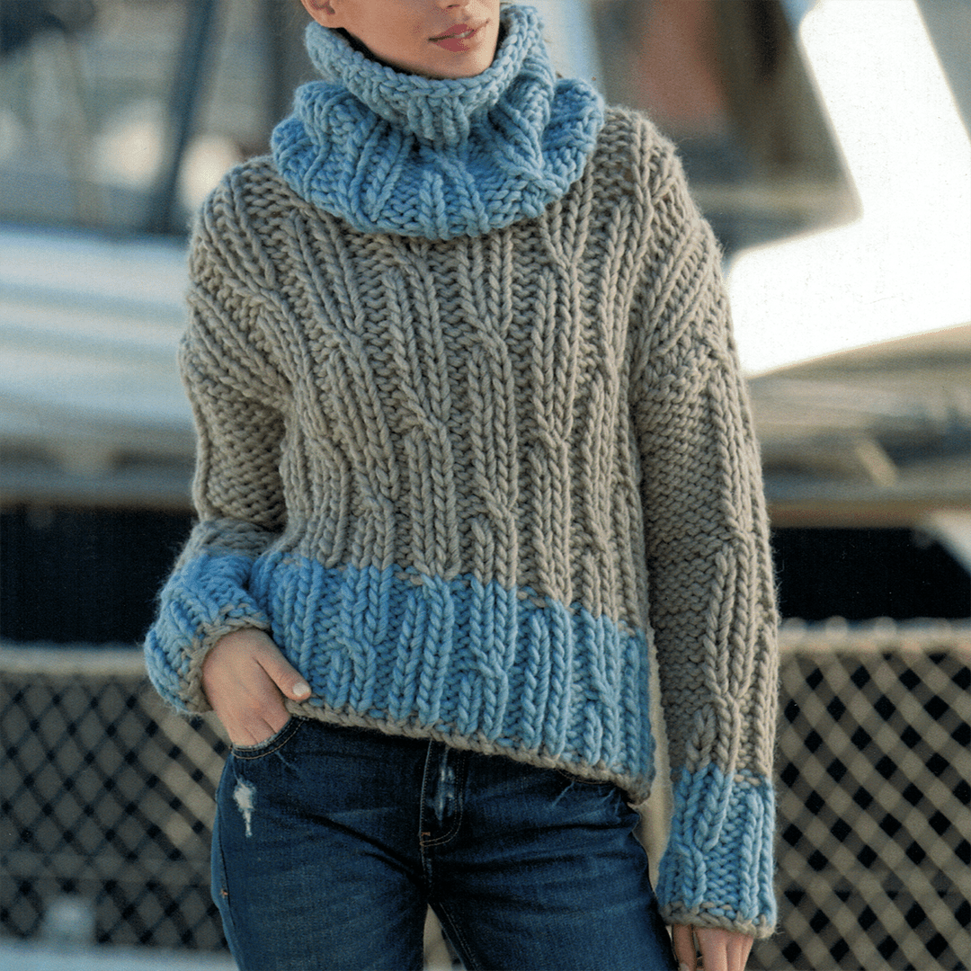 Chunky Cable Sweater with removable Neck Warmer