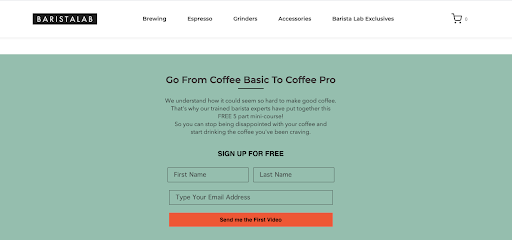 """Barista Lab uses a free email course as their ecommerce lead magnet, called """"From Coffee Basic to Coffee Pro"""""""