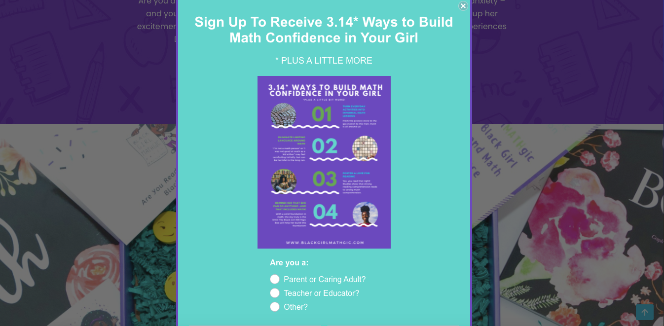 """Black Girl Mathgic's free checklist lead magnet titled """"3.14 ways to build math confidence in your girl"""""""