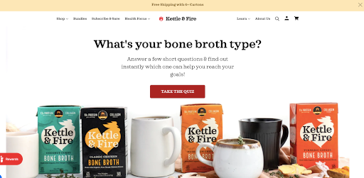 Kettle and Fire use a quiz as their ecommerce lead magnet.