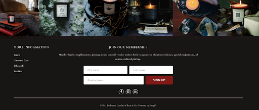 """Lodestone Candles uses """"membership"""" to position their email list as a community."""