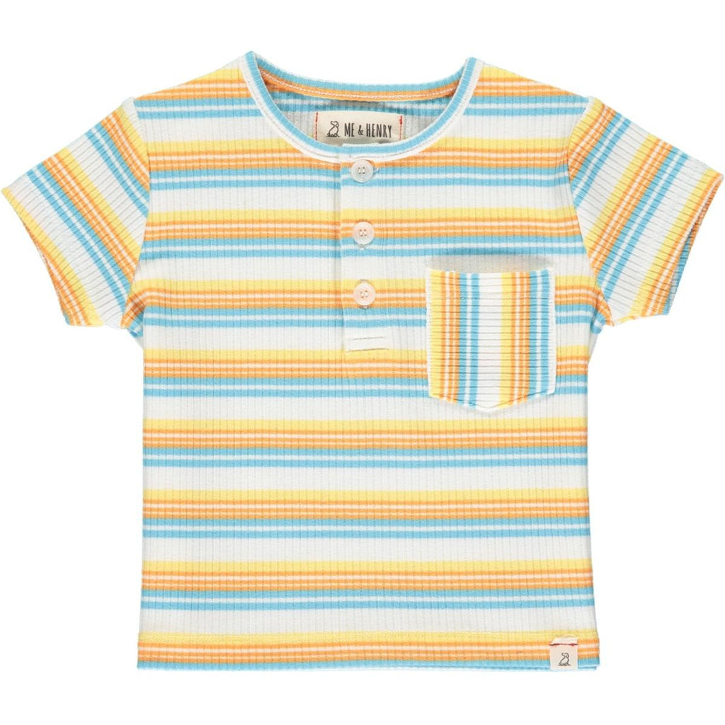 Me & Henry Dodger Henley | Yellow/Coral/Blue Ribbed Stripe