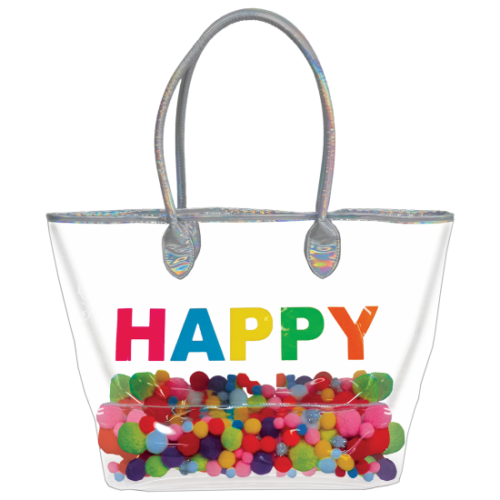 Iscream Happy Pom Poms Clear Tote Bag