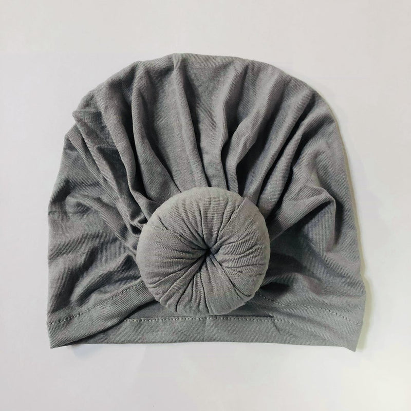 Sugar + Maple Baby Top Knot Hat - Silver