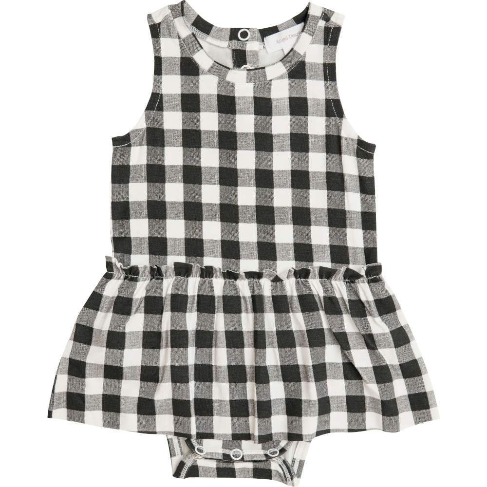 Angel Dear Gingham Bodysuit with Skirt Black