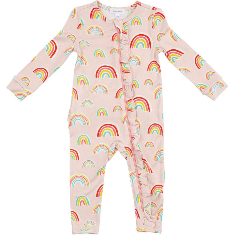 Angel Dear Rainbows Ruffle Front Romper Pink