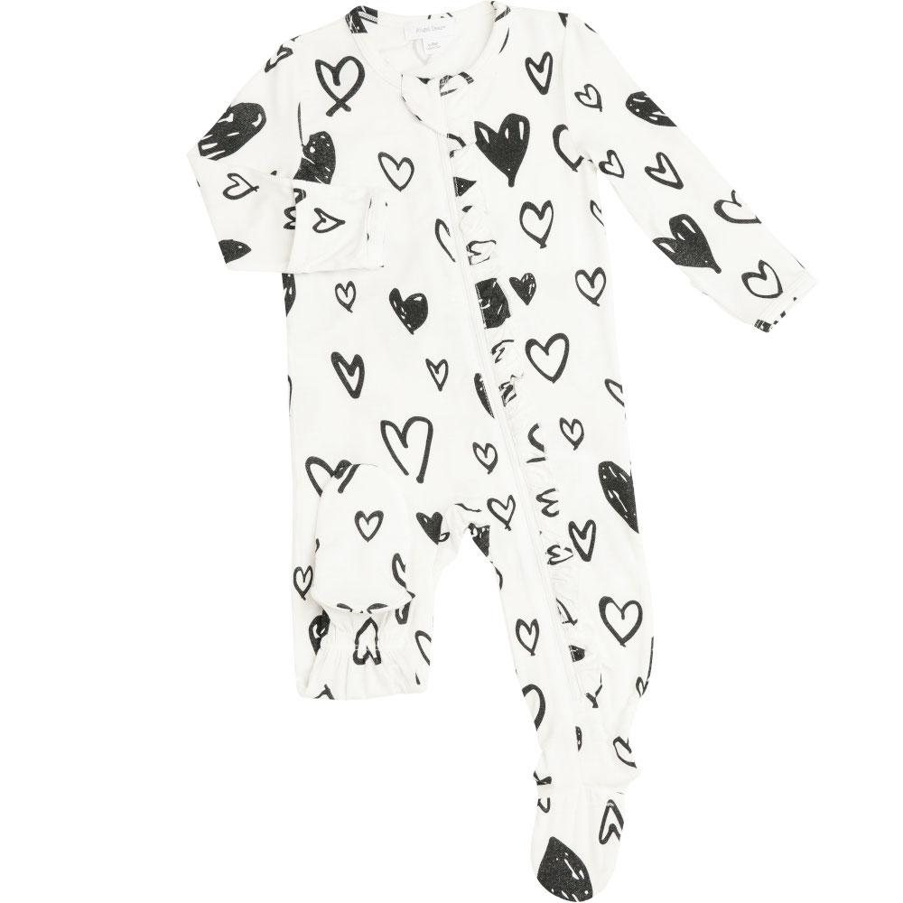 Angel Dear Hearts Ruffle  Front Zipper Footie Black & White