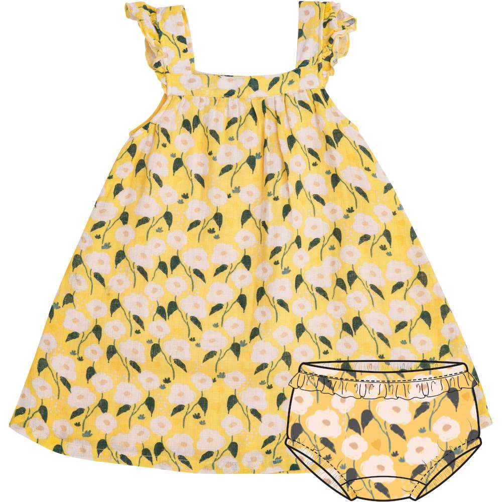 Angel Dear Golden Floral Sundress/Diaper Cover Yellow