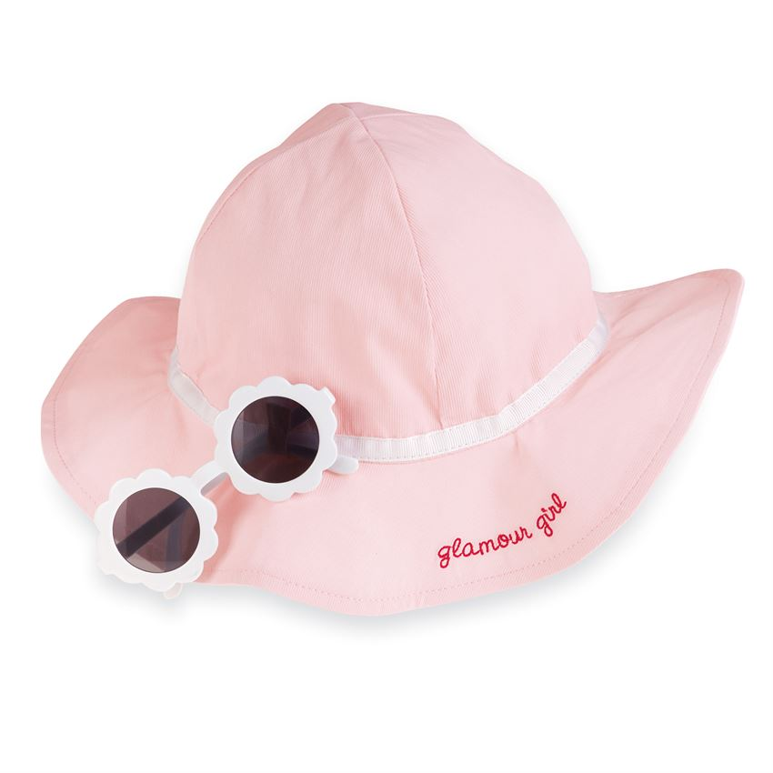Mud Pie Pink Sun Hat & Glasses Set