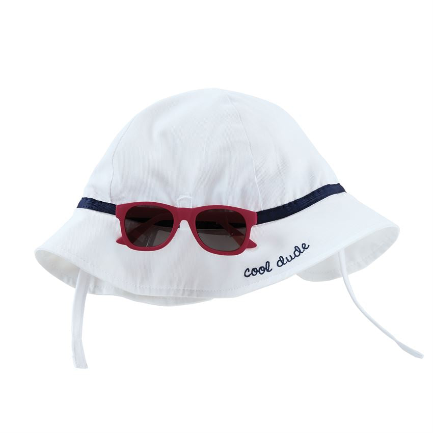 Mud Pie White Sun Hat & Glasses Set