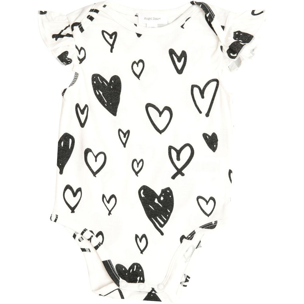 Angel Dear Hearts Ruffle Sleeve Onesie Black & White