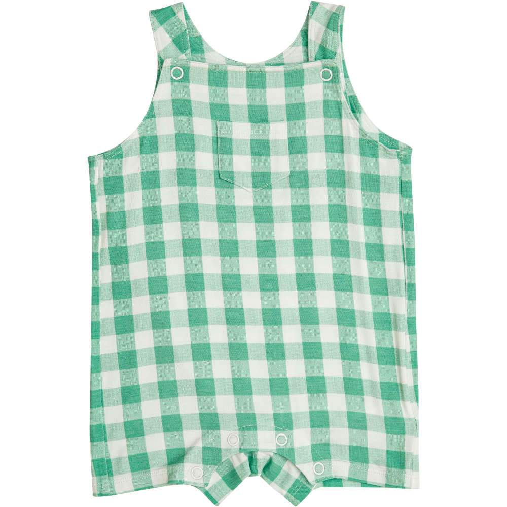 Angel Dear Gingham Overall Shortie Green
