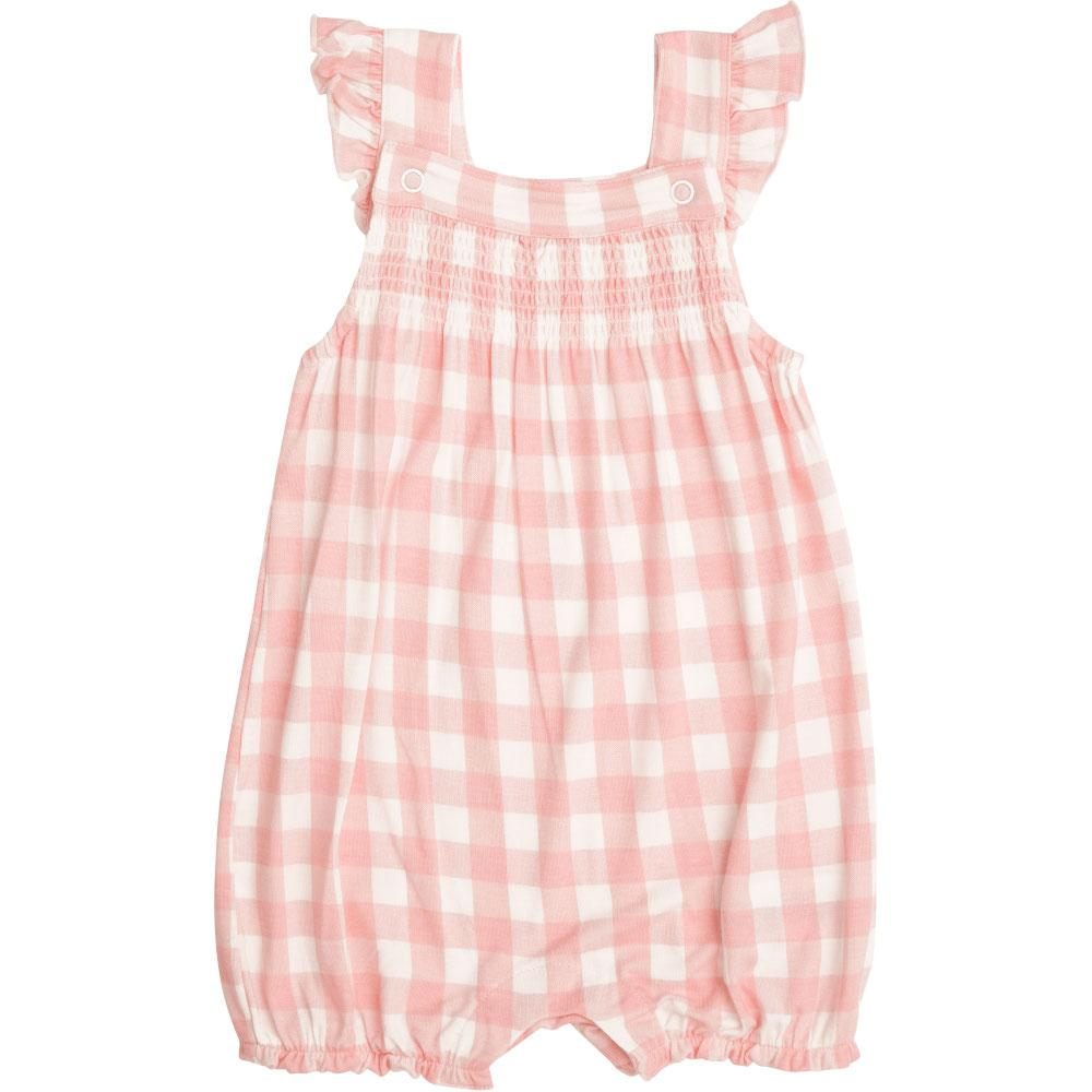 Angel Dear Gingham Smocked Front Overall Shortie Pink