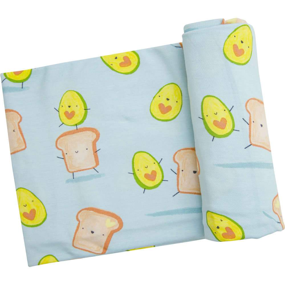 Angel Dear Avocado + Toast Swaddle Blanket Blue