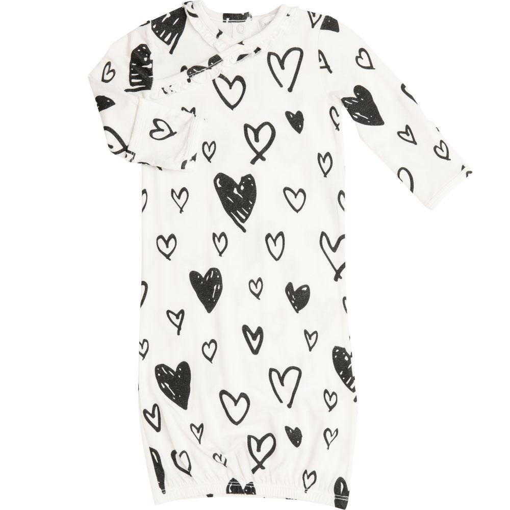 Angel Dear Hearts Kimono Gown Black & White