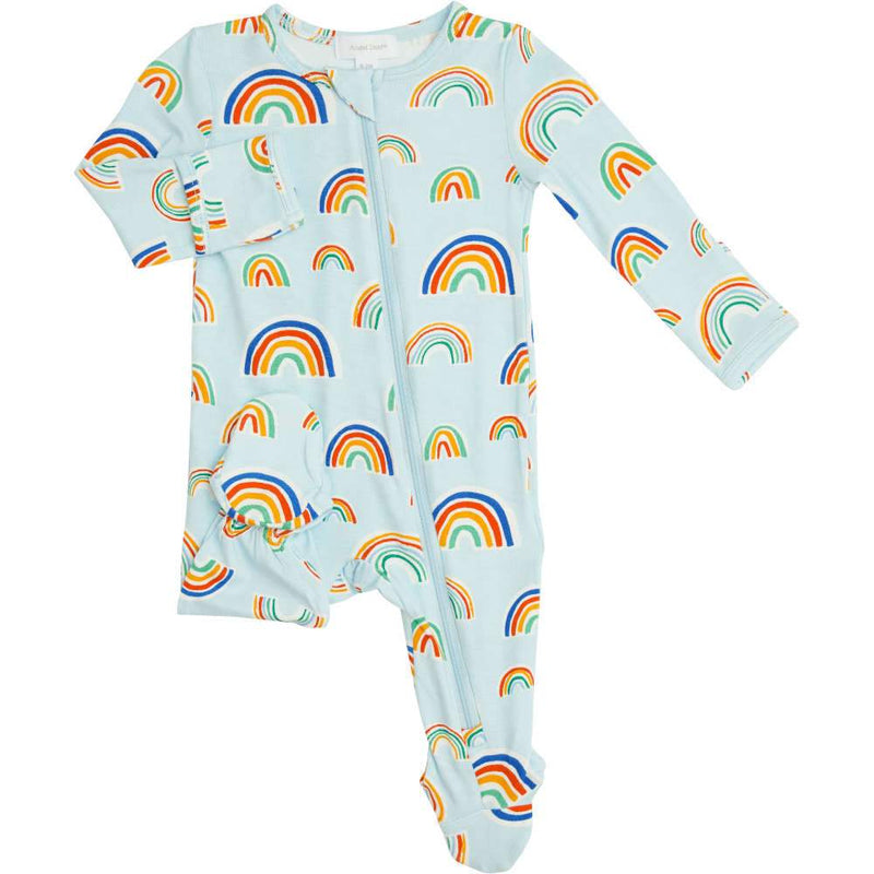 Angel Dear Rainbows Zipper Footie Blue Multi