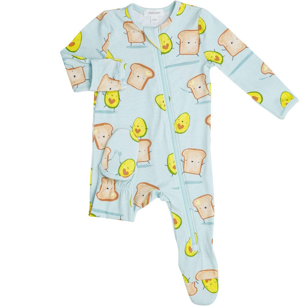 Angel Dear Avocado + Toast Zipper Footie Blue
