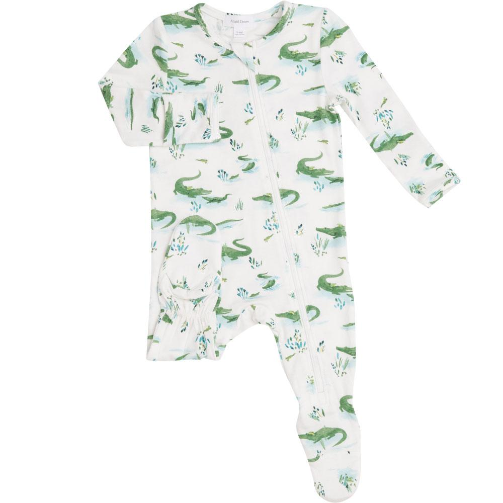 Angel Dear Gators Zipper Footie Ivory