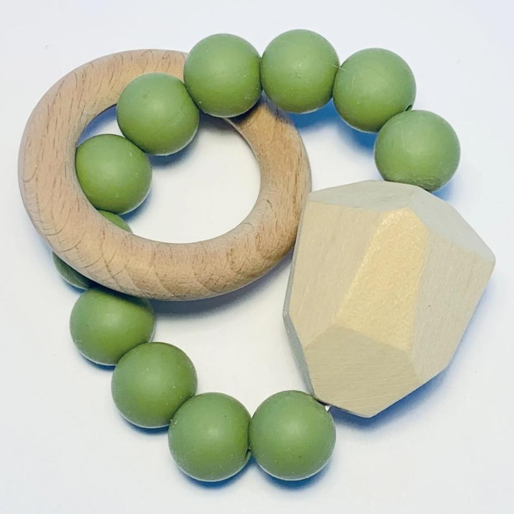 Sugar + Maple Silicone + Beechwood Teether Gem - Moss