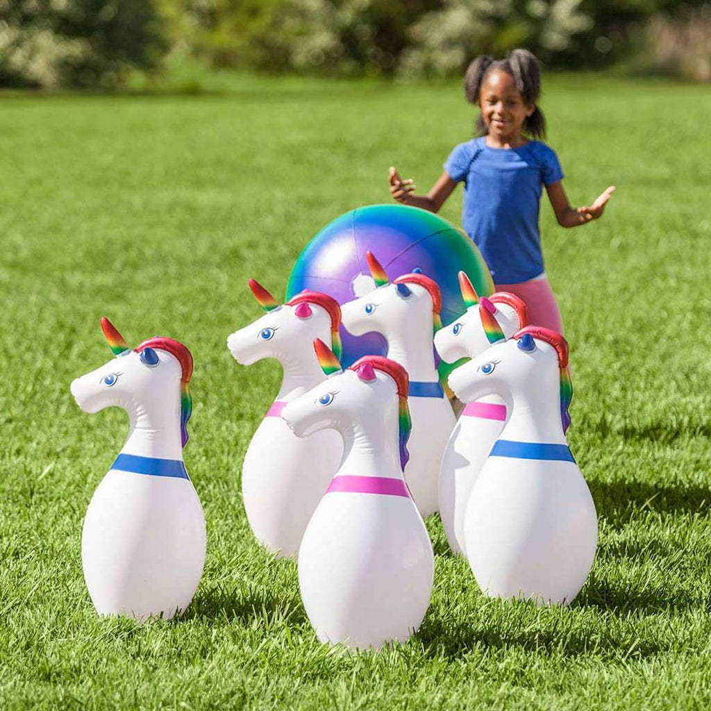 Hearthsong Giant Inflatable Unicorn Bowling