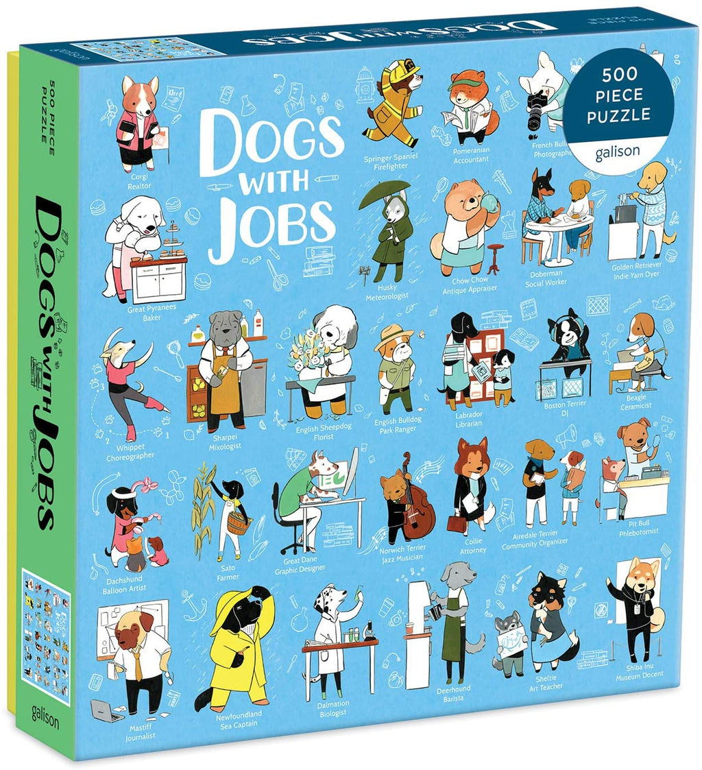 Galison Dogs with Jobs Puzzle, 500 Pieces