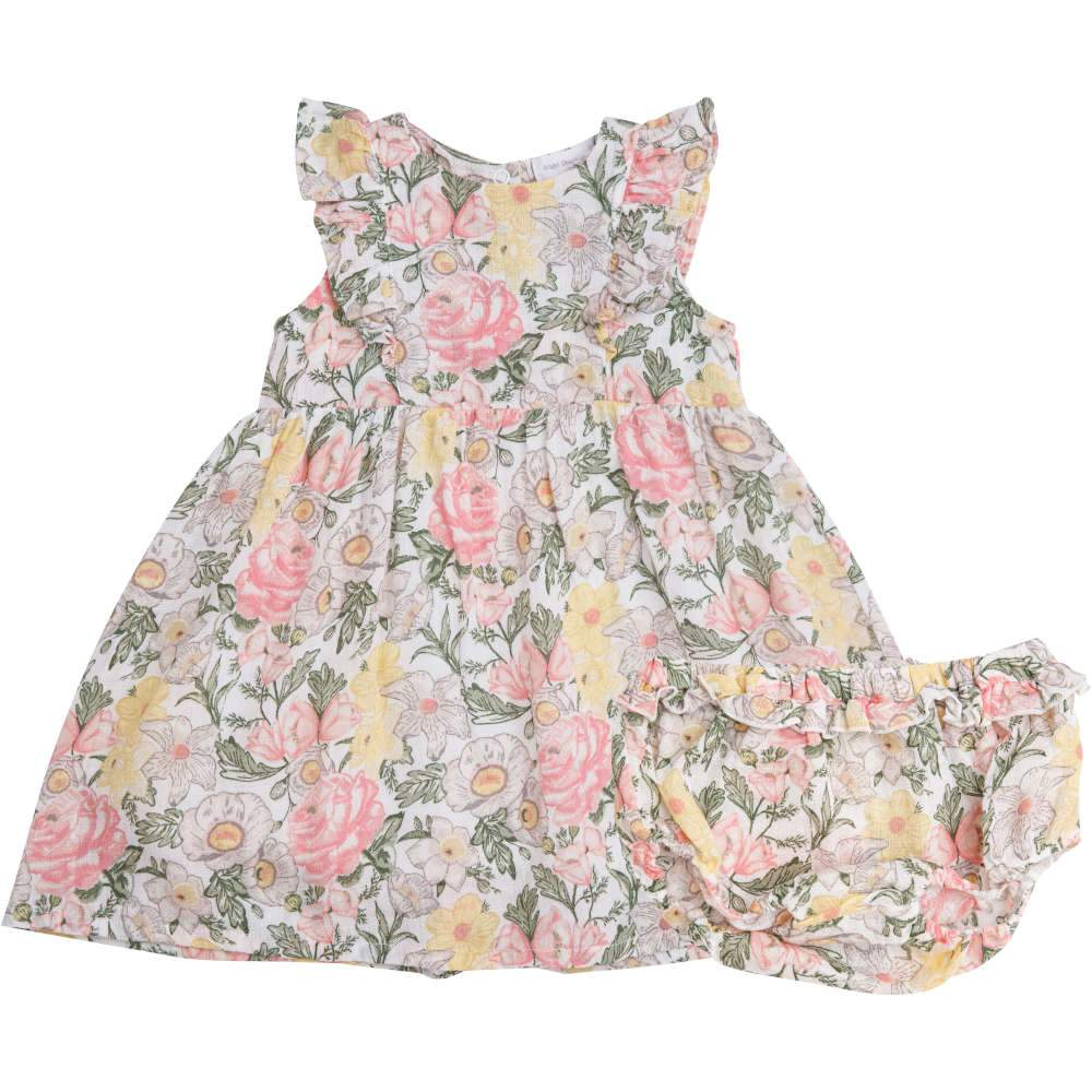 Angel Dear Traditional Floral Dress & Diaper Cover Multi