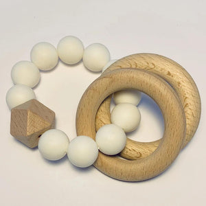 Sugar + Maple Silicone + Beechwood Teether 2-Ring - White