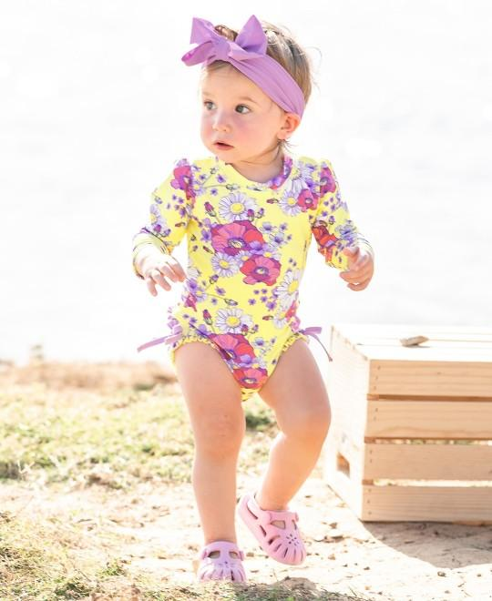 RuffleButts Lilac Swim Bow Headband