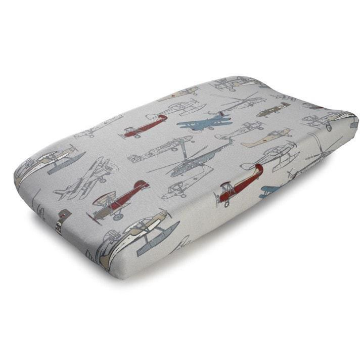 Liz & Roo Vintage Airplanes Contoured Changing Pad Cover