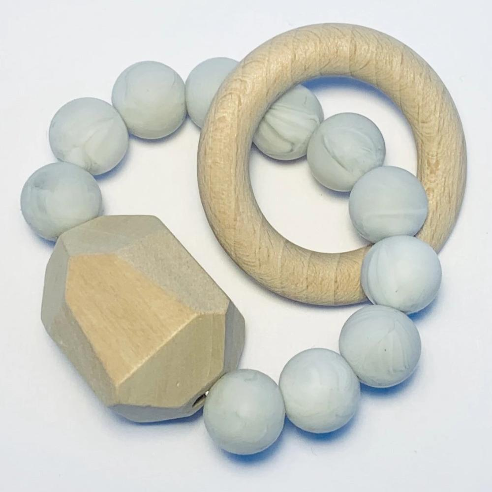 Sugar + Maple Silicone + Beechwood Teether Gem - Marble