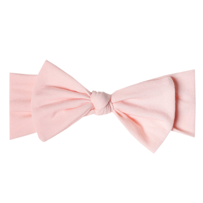 Copper Pearl Knit Headband Bow | Blush