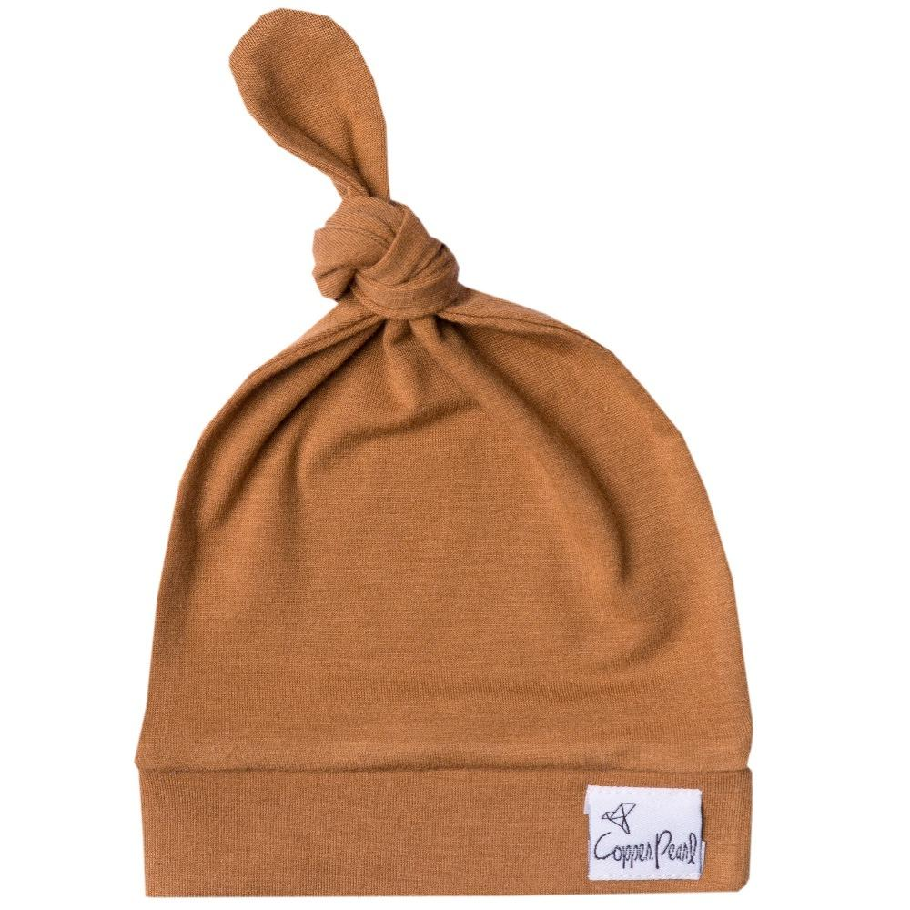 Copper Pearl Top Knot Hat | Camel